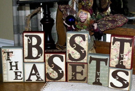 Special Custom Wood Blocks 6 Wood Blocks You pick the color and letters you want on your blocks