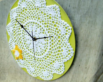 Green Apple White Doily Wall Clock Vintage Inspired Cottage Style Clock Shabby Chic Home Decor Lime Green Eco Friendly Upcycled
