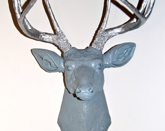 Faux Deer Head - Blue Gray and Silver Antlers - Deer Head Antlers Fake Taxidermy Wall Mount D3910