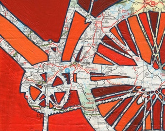 Bike Athens--bike art of original map painting