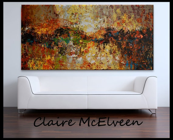 "XXL Original Abstract  landscape  painting on canvas 48"" x 24"" Rich Earthy Jewel tone colors   by ClaireMcElveen"