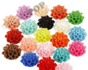 15mm - MIXED COLORS, Chrysanthemum Flower Cabochons, Flower Cabs, Dahlia Flatbacks, Mum Shaped, Flat Back Mums, Glue On Flowers (R3-107)