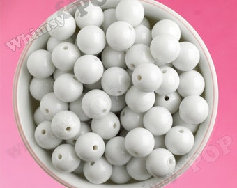 16mm - White Gumball Beads, Chunky Gumball Beads, 16mm Gumball Beads, 16mm Chunky Beads, 16mm Beads, Bubblegum Beads, 2mm Hole
