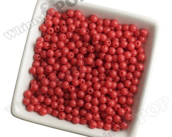 6mm - 100 PACK of Red Acrylic Round Beads,  Mini Gumball Beads, 6mm Beads, 1mm Hole