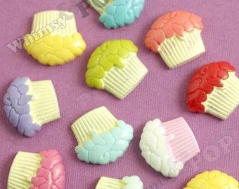 10 - Kawaii Mixed Colors Cupcake Resin Decoden Flatback Cabochons, Cupcake Flatback Cabochons, 18mm x 21mm (R4-042)