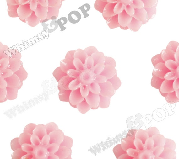 15mm - Soft Pink Chrysanthemum Flower Cabochons, Dahlia Flatbacks, Mum Shaped, (R3-104)