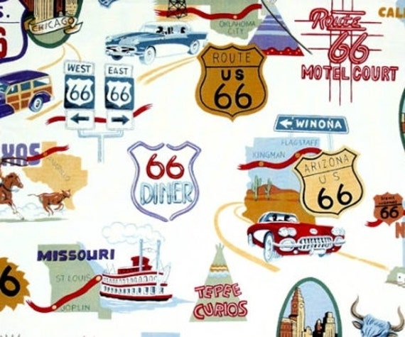 """ROUTE 66   40"""" X 18""""  Cafe' Curtain COTTON  Fabric Print HANDMADE Made to Order"""