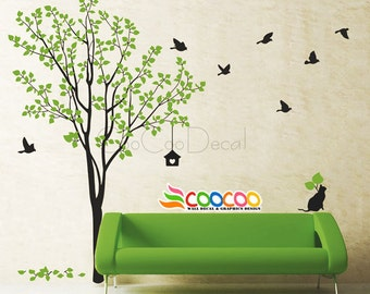 Nursery Wall Decal Tree Wall Decal Tree Animals Wall Decal Nature Cat and Birds