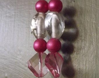light and dark pink beaded dangle earrings