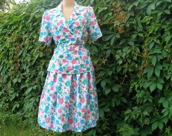 Pretty Skirt Suit Vintage / Size EUR36 / 38 UK8 / 10 /  Summer Suit