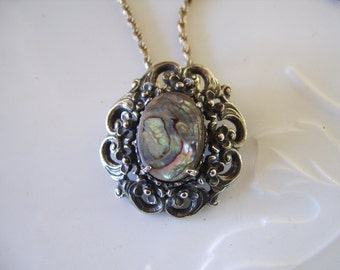 Vintage Sterling Silver Rope Chain & Florenza Silvertone Abalone Shell Brooch Pendant