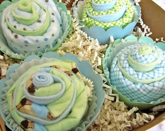 Burp Cloth Cupcake Set, Owls Baby Baby Boy GIft Set