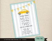 Volks Wagon Bug, Beetle, Birthday party Invite, 5x7 Printable