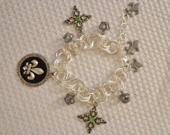 Handmade Chainmaille Rosette Charm Bracelet