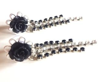 Rhinestone Plugs 0g Dangle Plugs Black Rose Flower Gauges 4g, 2g Sparkle Body Jewelry Rhinestone Ear Plugs Acrylic/Wood/Steel Tunnels