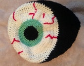 Eyeball hat green eye hat slightly slouched monster bloodshot eye ball crochet hat