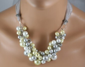 Bridesmaid necklace in white/yellow/grey with grey crystals and organza ribbon-wedding jewelry