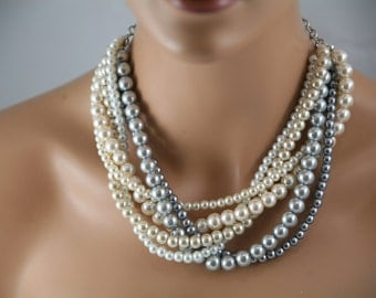 multi strand necklace in pewter/gray/champagne/white/cream-wedding jewelry