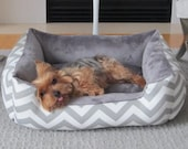 """One-Piece 24"""" x 19""""  - Dog Bed - Cat Bed - Gray & White with Minky Fleece"""