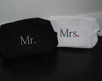 Personalized, Embroidered Cosmetic Bags...Mr. and Mrs.