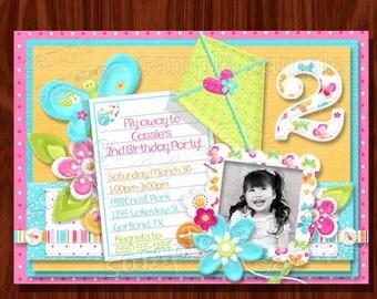 Kite Butterflies Sunshine Invitation PRINTABLE digital file