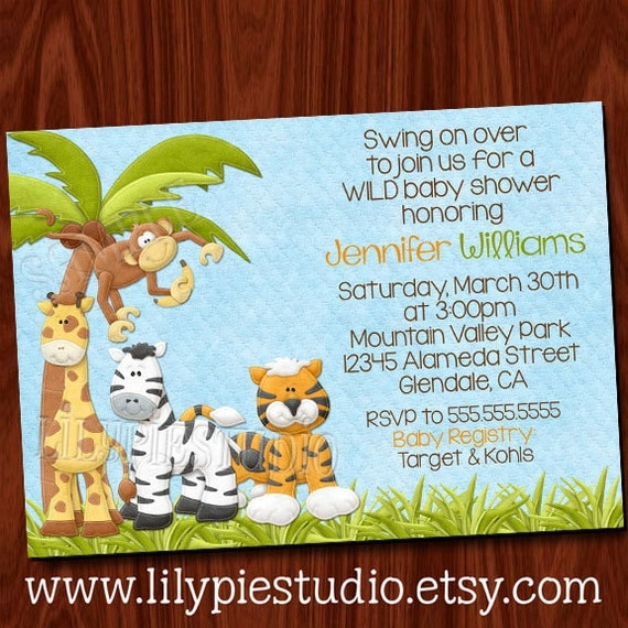 King of the jungle baby shower invitation printable digital for Baby shower party junge