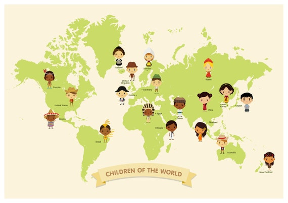 around the world, children of the world, Hello to the world, world map