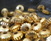 Brass Spacers - Bright Brass Gear Spacer Beads 6mm Steampunk 40 pieces