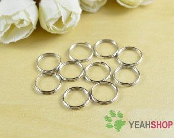 10mm Nickel Round Split Rings - Double Loop - 1 Pack / 50 PCS (SR6)