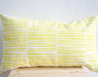"Handprinted Pillow Organic Cotton Lemon Cushion Zebraria 20 x 12"""