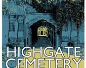 Vintage style screenprint - Highgate Cemetery West