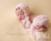 Newborn Bonnet Pants Set. Baby Pink Chiffon Hat and Pants Set. Newborn Baby Bonnet. Newborn Photography Prop.UK SELLER