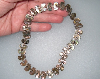 Taxco SALAZAR Signed Sterling and Abalone Shell Choker / Also Makes 2 Bracelets / Awesome / FREE US Shipping