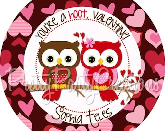 OWLS on BRANCH favor tags/stickers - U PRINT - Valentine - also available printed - 2 to choose