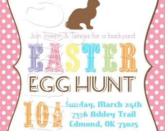 BUNNY SILHOUETTE Easter invitation - YOU Print - 4 to choose