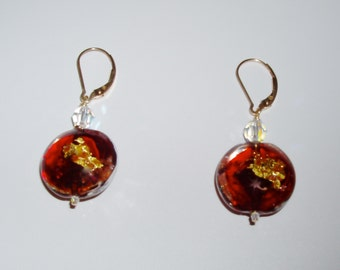 SALE - 24K Gold Infused Crimson Murano Disc and Crystal Earrings