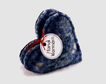 Pocket Hand Warmers BLUE & GRAY Fair Isle HEARTS  Felted Wool Eco Chic Masculine Gift