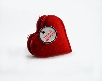 Pocket Hand Warmers Wool RED GRAY HEARTS Eco Gift Rice Bag Handwarmers