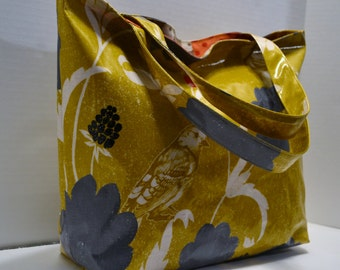 Laminated Tote Shopping Tote Knitting Project Bag Diaper Bag Echino Dahlia in Goldenrod