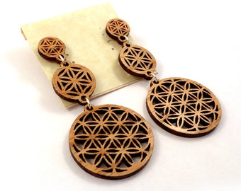 Sacred Geometry 3-Part Post Earrings - Sustainable Wooden Stud Earrings - in Oak - Flower of Life