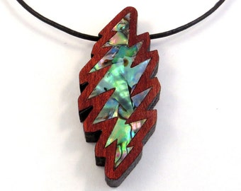 Grateful Bolt Inlay Pendant - Abalone on Bloodwood Necklace
