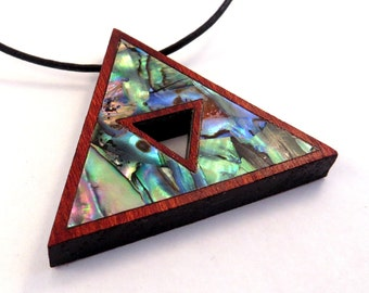Triforce Inlay Wooden Pendant - Abalone Tri Force on Bloodwood Wood Necklace - Gamer