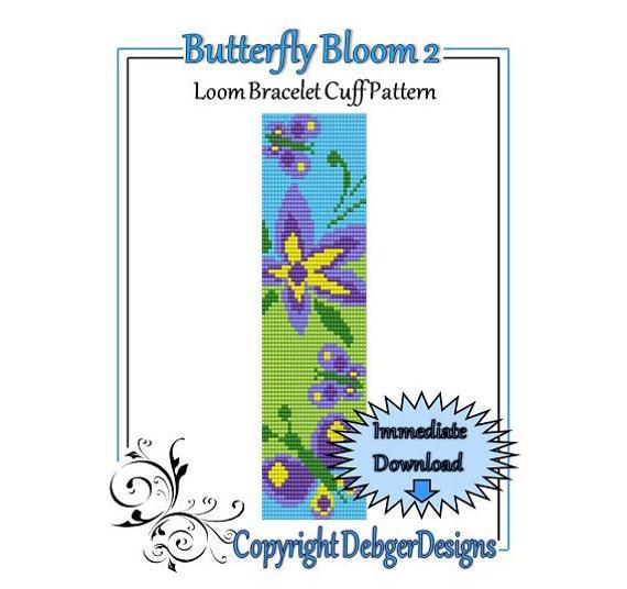 Bead Pattern Loom(Bracelet Cuff)-Butterfly Bloom 2