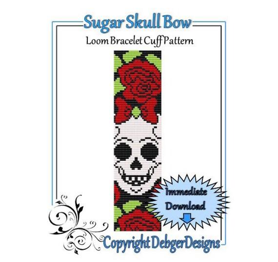 Bead Pattern Loom(Bracelet Cuff)-Sugar Skull Bow