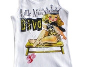 tshirt tank one piece tee shirt Vintage inspired Childrens tshirt..Little Miss Diva Ooak by Cotton Laundry
