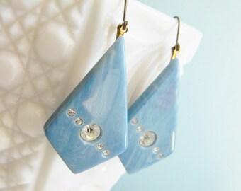 Blue Vintage Earrings, Vintage Lucite Earrings, Art Deco Earrings, Blue Rhinestone Earrings, Retro Earrings, Geometric Earrings