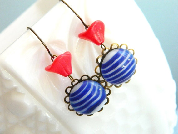 Red White and Blue Earrings, Blue Stripe Earrings, Vintage Earrings, 4th of July Earrings, Retro Earrings, Patriotic Earrings, Memorial Day
