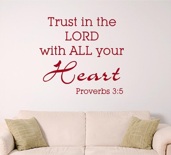 Bible Verse Wall Art Trust In The Lord With All By