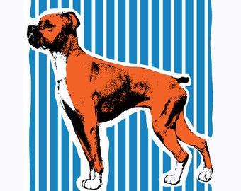 Boxer Dog Art Print  - Hand Printed