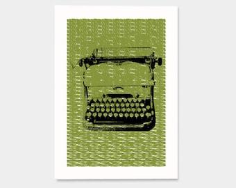 Typewriter - Hand Printed Art Print - 5X7